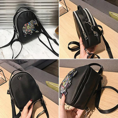 Nylon Elephant Embroidery Backpack Multi-function Casual Shoulder Bag