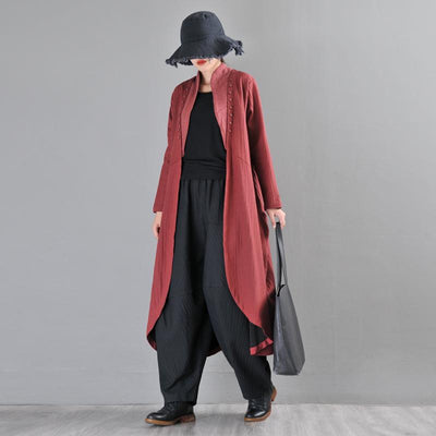 Buykud Solid Color Irregular Stitching Casual Loose Coat