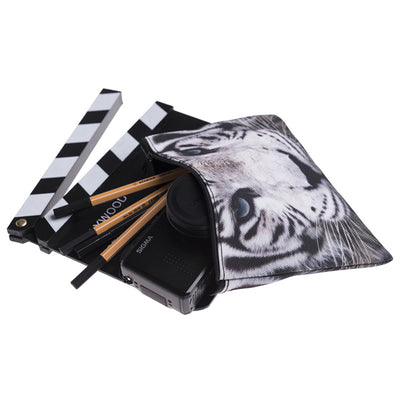 White tiger portable makeup bag