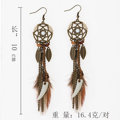 Bohemian fashion dream catcher earrings