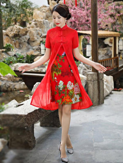Fuschia&Red Two Pieces Ao Dai Short Cheongsam