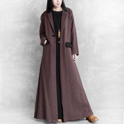 Buykud Autumn Winter Pure Color Lapel Trench Coat