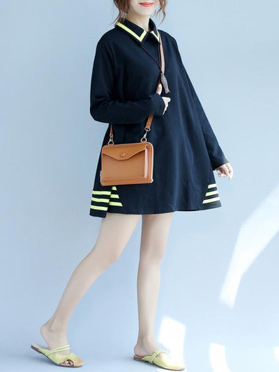 Black Loose Short Turn-Down Collar Dress with Yellow Strips