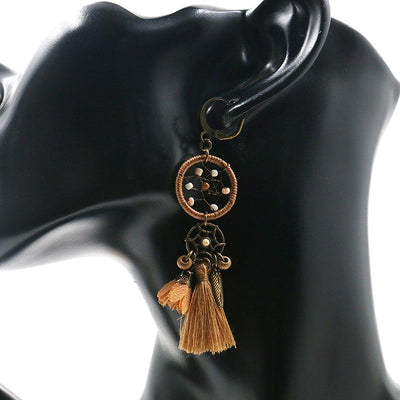 New dream catcher retro tassel pendant ethnic style flower earrings