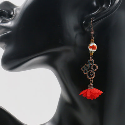 Vintage alloy ceramic lace earrings