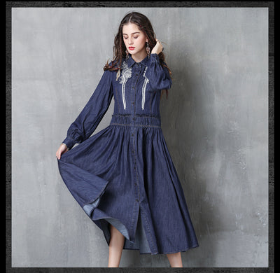 Turn-down Collar Full Sleeve Vintage Denim Boho Cotton Embroidery Dresses