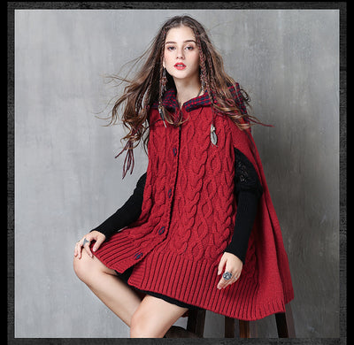 Boho Red loose overcoat vintage cape