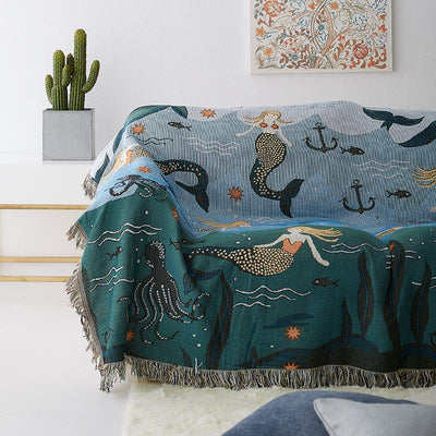 Cotton Blue Mermaid Sofa Blanket