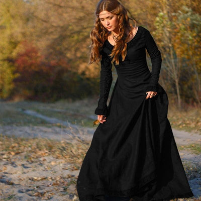 classical medieval European middle-sleeve round neck slim ladies dress