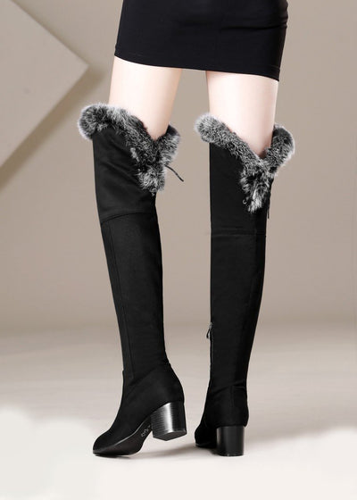 Fashion Rbbit Hair Over knee Boots
