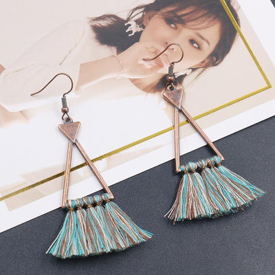 Triangle Alloy Woolen Tassel Pendant Long Earrings Wholesale