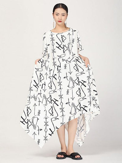 Literary Cropped Printed Long Dress