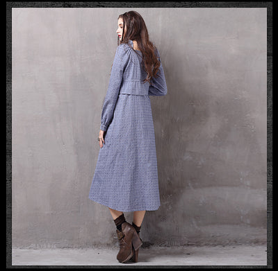 Square Collar Flower Embroidery Long Sleeve Mid-Calf Vintage Autumn Women Dress