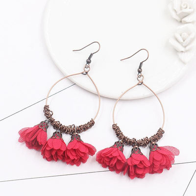 Vintage Drop Earrings Fabric Flower Earrings Super Fairy Tassel Earrings