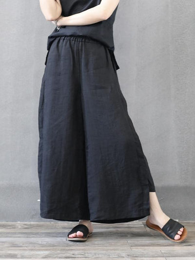 LATERAL PATCH SPLIT-JOINT ANKLE HOLLOW PANTS