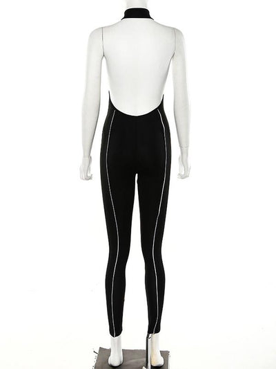 Reflective Backless Split-joint Jumpsuits
