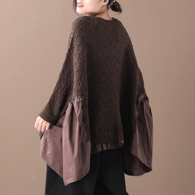 Buykud Loose Batwing Sleeve Pleated Spliced Sweater