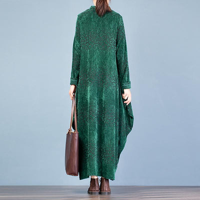 Buykud Retro Cocoon Shape Solid Color Loose Dress