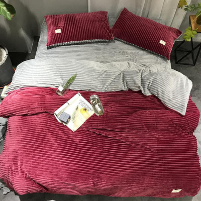 4 Pieces Bedding Set Thick Flat Sheet And Fitted Sheet