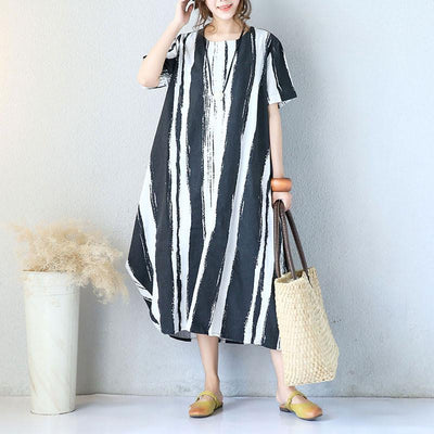 Cotton Linen Short Sleeves Black Dress