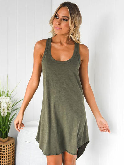 Solid Color Sleeveless Casual Mini Dress