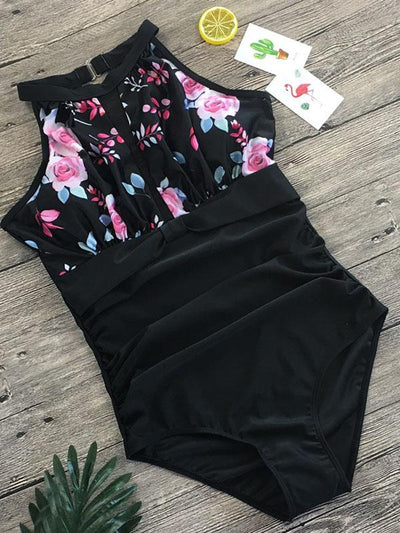 Tulle Printed One-piece Swimsuit