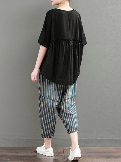 Loose Oversize Split-front Ruffled Split-joint Tops