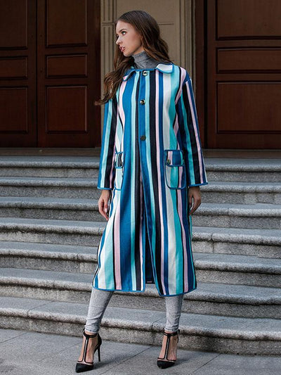 Loose Phlegmatic Color-Stripe Midi Overcoat