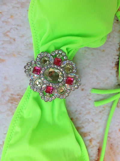 Vintage Rhinestone Decorated Bikinis Swimwear
