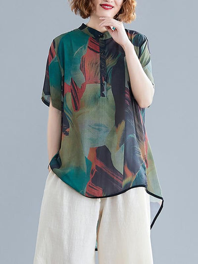 Chiffon Printed Short Sleeves Shirt + Wide Leg Pants Suits