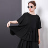 Comfortable Solid Color Pleated Summer T-Shirt