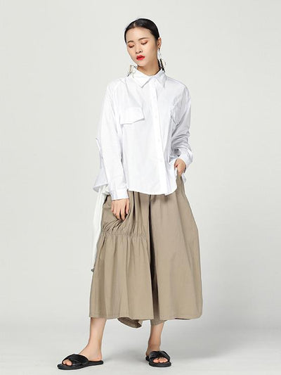 New Original Cropped Long Shirrt