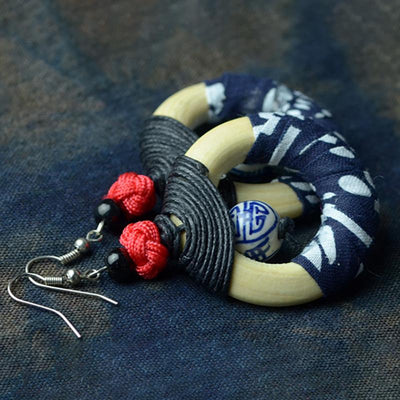 Buykud Blue And White Porcelain Retro Handmade Earrings