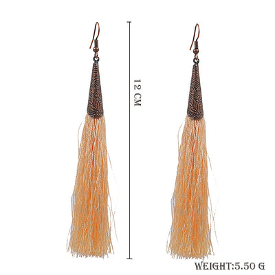 Retro red alloy earrings long tassel pendant earrings