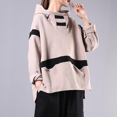 Buykud Literary Contrast Color Casual Loose Hoodie