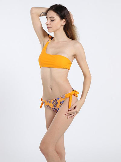 Single Shoulder Knot Side Bottom Bikinis Swimwear