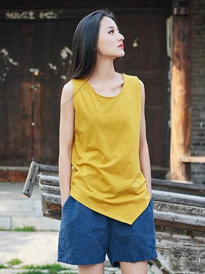 Retro Cotton Irregular Sleeveless T-shirt