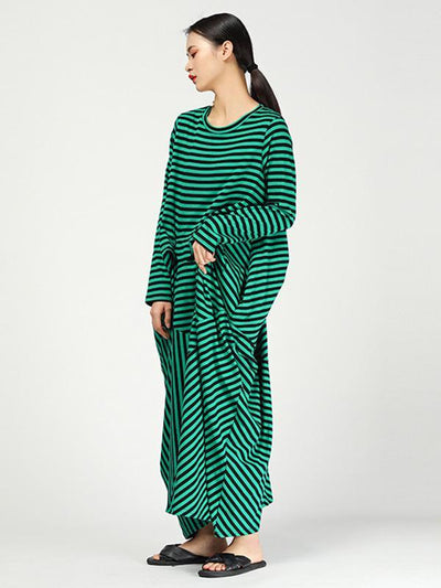 Loose Striped Irregular Long Dress