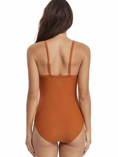 Lace-up Backless Plain One-piece Swimwear