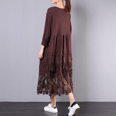 Buykud Hollow Out Embroidery Casual Loose Knitted Dress