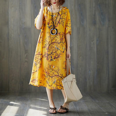 Loose Women Short Sleeve Printed Ramie Dress