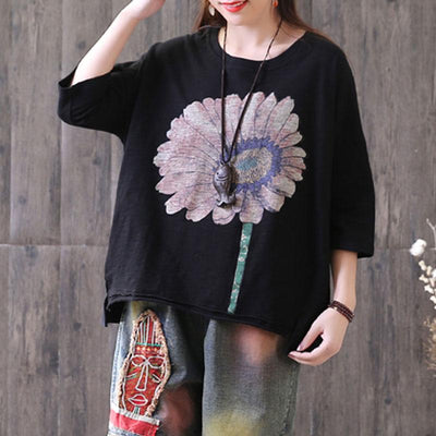 Three Quarter Sleeve Loose Sunflower Printed Black Tops