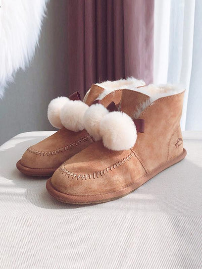 Fur Ball High-Top Wool Snow Boots Uggs