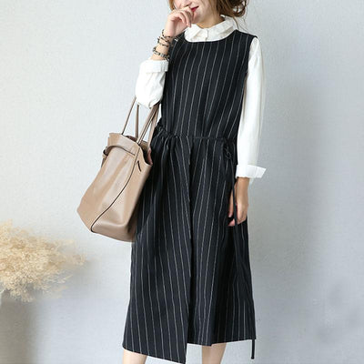 Round Neck Sleeveless Women Stripe Lacing Dress