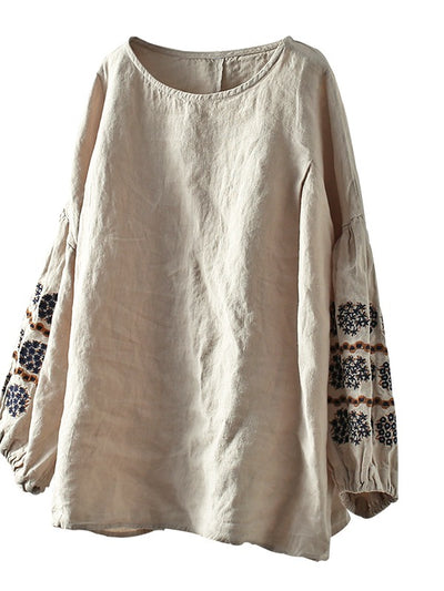 VINTAGE LOOSE NINE-POINT SLEEVE ROUND NECK EMBROIDERED T-SHIRT