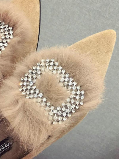 Rhinestone O Letter Artificial Fur Pointed Shoes