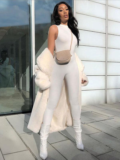 Sexy Solid Wrap Sleeveless Jumpsuits