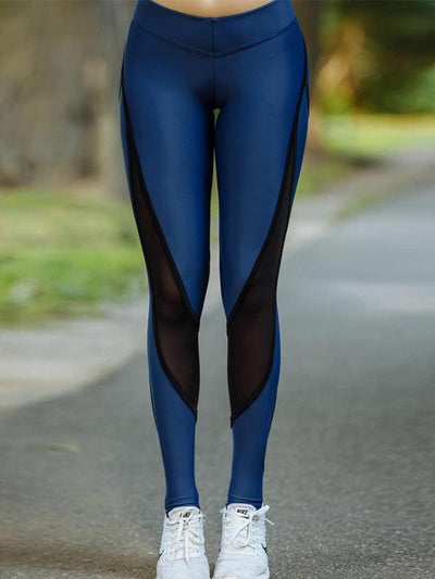 High Waist Mesh Insert Workout Leggings