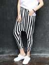 Casual Striped Pockets Harem Pants Bottoms