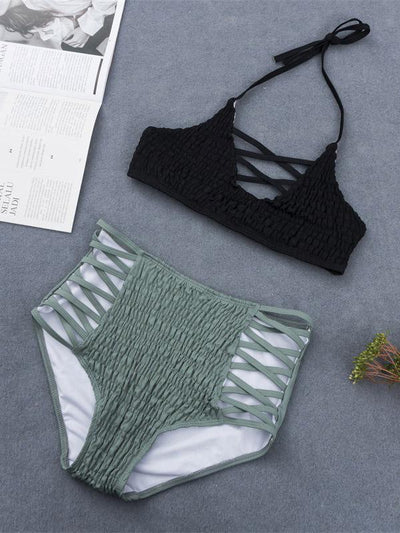 Drape Bandeau With High Waist Bikini Set